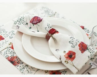 Linen napkin - Poppy pattern - Natural linen - 12,5x12,5 inch size - dinning room decor - free shipping - hand made
