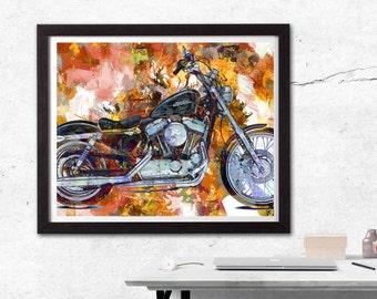 Motorcycle Art, Motorcycle Print, Biker Gift, Biker Art, Garage Art, Mixed Media Art, Dirt Bike, Motorcycle Gifts, Motorcycle Helmut, Cycle