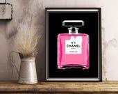 Chanel Perfume Bottle Print, Chanel Lover Decor, Modern Chanel Art, Chanel Gift, Poster or Canvas, Pink Chanel Bottle, Feminine Wall Art