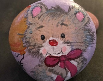 Sweet Celebration/Birthday Kitty Cat Painted Rock, Paperweight & Collectible