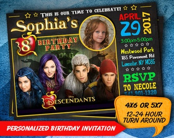 Descendants invitations, Descendants birthday invitation, Disney Descendants invitation, Descendants printable invitation