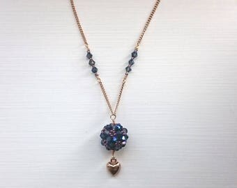 Navy/amethyst bead ball necklace with gold chain
