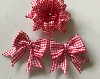 Red and white check gingham school girls flower clip and double bow set