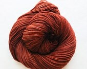 rust / hand dyed yarn / fingering sock dk bulky yarn / super wash merino wool yarn / single or ply / choose base / reddish rust brown yarn