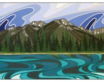 Basking in Blue Lake, Elkvalley, Kootenays, Original Artwork Magnet