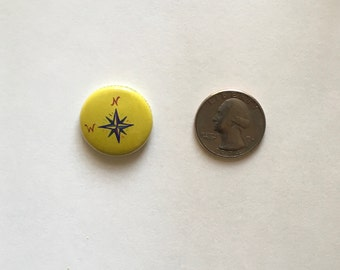 Pacific Northwest Compass 1 inch Button Pin