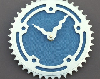 Bicycle Gear Clock - Vintage Teal II | Bike Clock | Wall Clock | Recycled Bike Parts Clock