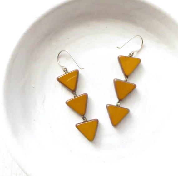 Angle Earrings > Mustard