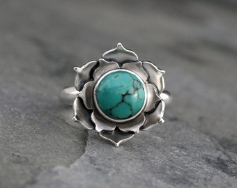 Turquoise Lotus Ring, Sterling Silver Statement Ring, Lotus Flower Turquoise Cabochon Cocktail Ring Gemstone, Open Heart Flower, Botanical