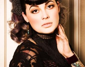 Isabella Headpiece - gothic, burlesque, headdress, headpiece, gothic headpiece, hat, pin up,