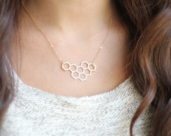 Honeycomb Cluster Necklace - Brass | Stainless Steel | 14k Gold Filled | Sterling Silver