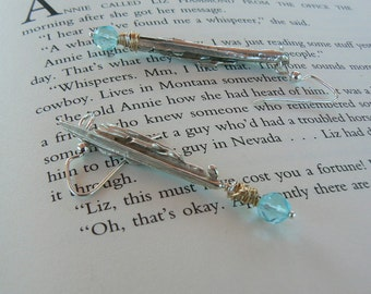 Broom Cast Sterling Silver Earrings/Blue Topaz