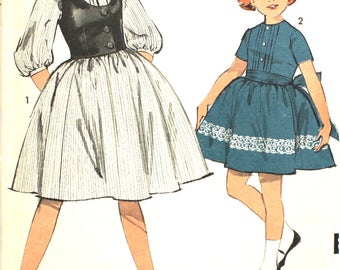 Girl's Pintuck Dress and Weskit Size 8 1/2 Sew-Easy Advance 3017 Vintage Sewing Pattern