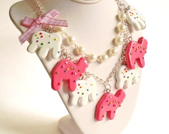 Circus Animal Cookies Necklace Frosted Animal Cookie Statement Necklace Animal Crackers Kawaii Pink Rainbow Sprinkles Cookie Pin Up Jewelry