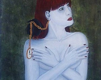 "Nude Gothic Woman with Black Crow and Pocket Watch Large Acrylic Painting Fine Art 18"" x 24"" on Canvas Subdued Colors Silver Green and Red"