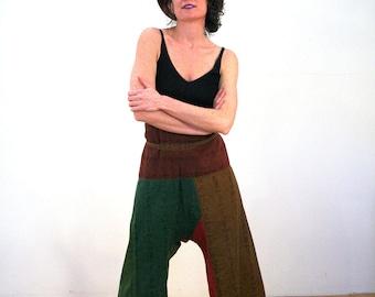 Habiba, 80s Harem Pants S M L, Paperbag Waist Pants, India Pants, Cropped Pants, Baggy Relaxed Fit Pants, Patchwork Harem Pants with Pocket