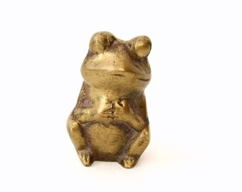 Small Brass Frog Figurine