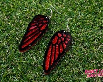 Red Glitter Bird Wing Earrings, Angel Wing Earrings, Gothic Earrings, Laser Cut Acrylic, Laser Cut Jewellery, Laser Cut Earrings