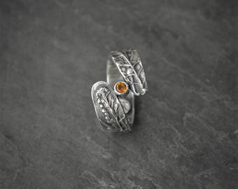 Citrine Ring, Gemstone Ring, Peppergrass Ring, Prairie Grass Ring, Botanical Ring, Plant Band Ring, Wedding Ring, Sterling Silver, Solitaire