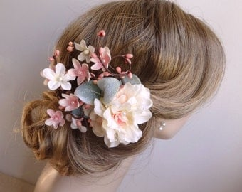 bridal hair clip, floral hair clip, bridal hair piece, pink floral hair comb, bridal hair flower, bridal headpiece, ivory flower headpiece
