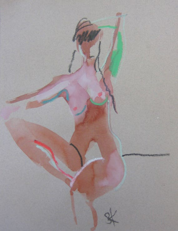 Nude painting of One minute pose 105.6 - Original nude painting by Gretchen Kelly