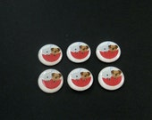 """6 It's Raining Cats and Dogs Buttons. Novelty buttons.  3/4"""" or 20 mm.  Cat and Dog in Umbrella. Handmade by Me.  Washer and Dryer Safe."""