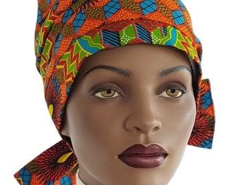 Nabru Turban Hat™ Cotton Turban Tie Wrap Orange Teal Blue Green Yellow African Print Cotton Turban Hat Satin Lined Head Turban Handmade