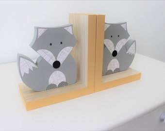 Fox Bookends, Gray and Yellow, Woodland Nursery, Woodland Kids Decor, Fox Nursery, Forest Themed Nursery, eco friendly