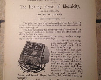 1898 Healing Power of Electricity Antique Book Page