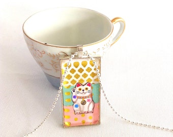 "lucky cat necklace, kawaii lucky cat domino pendant, gold polka dots, 1x2"" rectangle"
