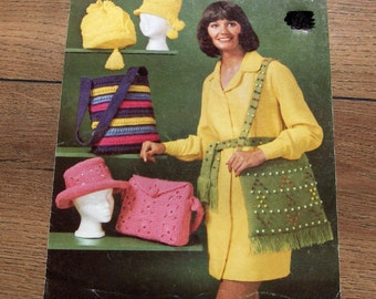 vintage 60s 70s knit crochet patterns hats bags and beaded shoulder bag and belt