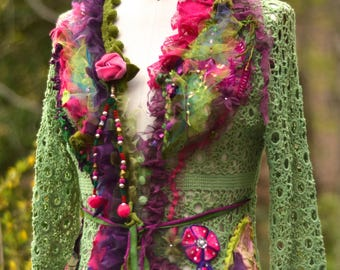 Embellished green pink SWEATER/Jacket, OOAK refashioned Fantasy art to wear, boho shabby chic altered couture. Size Small. Ready to ship