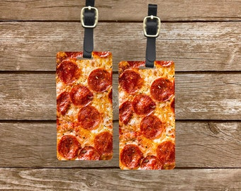 Luggage Tag Set Pepperoni Pizza Cheesey Metal Luggage Tag Set With Printed Custom Info On Back, 2 Tags Choice of Straps