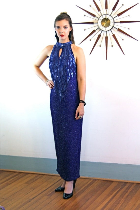 Vintage 80s Fully Beaded Cocktail Dress Cobalt Blue Elegant Long Maxi Fitted Slinky Sexy Open Back Fancy 1980s Formal Cocktail Evening Gown