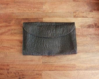 Vintage 1980s Oversized Clutch / 80s Genuine Buffalo Black Leather Purse