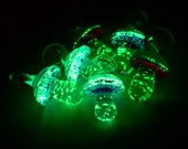 Glow in The Dark  Mushroom, Glass Pendants, 10pcs,  20x15mm, Mixed   Color,  Luminous Pendants