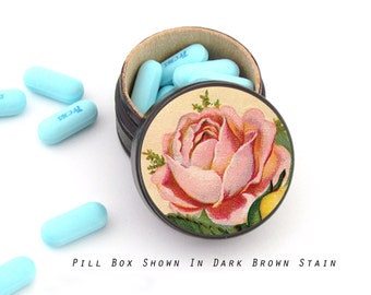 Pink Rose Pill Box - Pink Rose Ring Box - Floral theme Ring Bearer Box - Gift For the Gardener - Mothers Day Gift