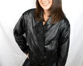 Vintage 80s Wilson Cropped Black Leather Jacket