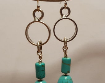 Turquoise Howlite and Silver Earrings