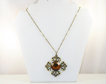 Vintage Gold Tone Amber Rhinestone Maltese Cross Pendant Necklace (N-4-2)