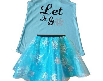 Elsa Running Costume, Elsa Costume, Fairy Tale Shirt, Frozen Tank, Sparkle Skirt, Running Skirt, Let it Go Running Costume, Princess Costume