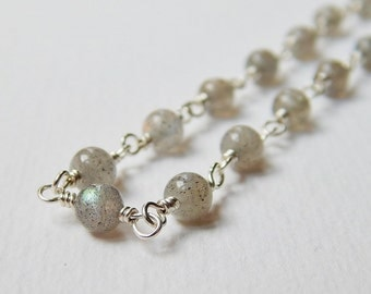 Labradorite Necklace - Sterling Silver Beaded Necklace Rosary Necklace Beadwork Necklace Rosary Chain 18 inch necklace