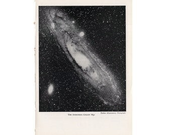 1946 ANDROMEDA GALAXY LITHOGRAPH - original vintage print - celestial astronomy -