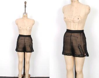 Vintage 1930s Tap Shorts / 30s Black Silk Chiffon Tap Pants / High Waisted (large L)