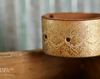 WONKY HANDSTAMPED CUFF - bracelet - personalized by Farmgirl Paints - gold leather cuff with embossed design