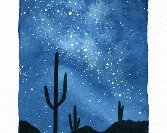 ORIGINAL Desert Sky - Watercolor Painting