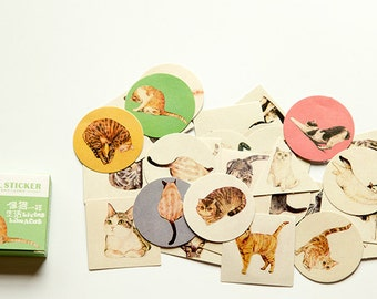 40 PCS, Cat stickers, Kitten stickers, Cat Lover stickers, Cat Lady stickers, Cat sticker flakes, Lifelog stickers 38
