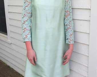 60s Lace Dress Mint Green Pastel Lee Claire Easter Spring Party Vintage M