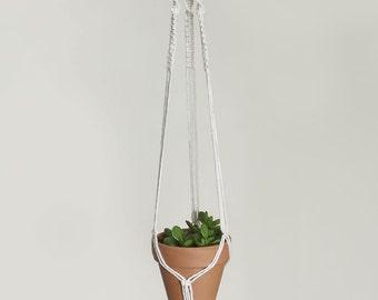 Small Macrame Plant Hanger | Natural White Cotton Cord | 3 Strand Indoor Hanging Planter | Plant Pot Holder | Boho Decor