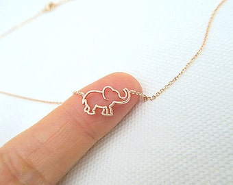 Rose Gold Tiny Elephant Necklace Baby Animal Necklace Minimalist Jewelry, Birthday Gift, Everyday Wear